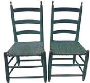 Z486 Matching Pair Virginia Antique Early 19th Century Ladder Back Chairs  With Very Gracefully Turned Finial