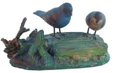V452 Pair blue Grosbeaks carvered  by  Silloway 1920-1930