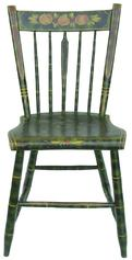 X208 S Pennsylvania painted plank seat chair, 19th c., retaining it's original vibrant green and black smoke decorated surface with a floral crest.