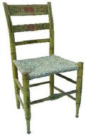 Pennsylvania  paint decorated  Ladder back Chair, with original rush seat, the back ground color of this chair is yellow with a red flower design, on the two slats and green stencils on legs and turning of the Chair.