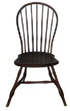 RM345 Early 19th Century New England seven spindle back Windsor Bow Back Side Chair,with original bittersweet red paint,