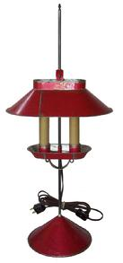 X553  Jeremy Martin tin student lamp  adjustable lamp with the original red paint with two electrified candles and signed �JM� on base,