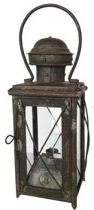 "U51 19th century Oil burning  Lantern ,with a removable t , flared four sided tank, The wick burner was made by Oelbrenner. Rolled and tinned iron construction, removable top, with a vented chimney. 13"" tall x 5"" wide"