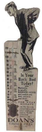 A265 chromolithographed Indianapolis Glove Company, , The Workman is Entitled to the Best, rectangular wood thermometer