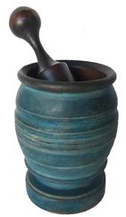 "Beautiful turned wooden Mortar and Pestle, 19th century, with incised decorative bands; . In  wonderful original Blue paint! measures 5"" across, top of mortar 4.5"" across. 6.75"" tall"