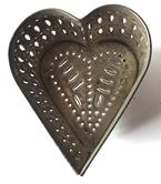 D174 19th century Pennsylvania Heart tin Cheese Strainer beautiful hole punching on side and bottom   4 1/2""