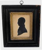 "V354 19th century Silhouette of young Man, American, hollow cut silhouette , in it's original black and gold frame, circa 1840 6 1/4"" wide x 7"" tall"