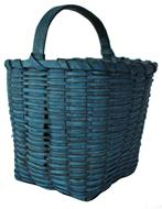 "A110 19th century small blue-Painted Splint Basket, American, woven square basket with arched handle in excellent original, blue-painted surfaced. Measurements  are: 8"" tall x 7"" wide"