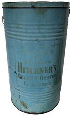 D95 Early 20th century adversting tin for HITCHNER Quality Oyster Crackers, This blue  colored metal can is 27� tall and 15� across with 2 wire bail handles and a pry off lid