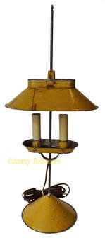 D123 D123 Jeremy Martin tin student lamp  adjustable lamp with mustard  paint, with two electrified candles and signed �JM� on base,  10�x 6 ¾�x 23 ¾�