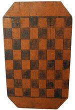 B629 Late 19th century Game Board Lancaster County Pa. with the original pumpkin and black paint,  the wood is pine original old surface