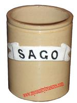 "Yellow Ware Canister Sago ( corn starch.) 4 1/2"" x 5 3/4"""