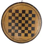 D193 19th century very unusual Game Board small size round yellow and black