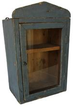 "C135  Late 19th century Hanging glass door cupboard , in the original blue  paint, the wood is pine,  circa 1880 all original Measurements are: 11 3/4"" wide x 7 1/2 deep x 18"" tall"