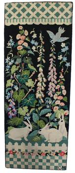 "D93 Early 20th Century Americana   Folk Art Hooked Rug,  , Beautiful hand made hooked rug with three Bunnies in a flower garden , with blue bird ,The rug has been professionally cleaned and mounted on frame.24"" wide x 63 1/2"" long"