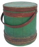 "U387 Sugar Bucket /firkin with the original red and green paint tongue and groove staves, tapered lap joint wooden bands  held in place with copper tacks. Bent wood handle with wooden pegs.12"" tall x 11"" diameter top"