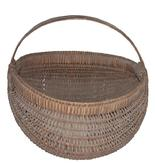 S.P.2 Antique oak splint buttocks gathering basket . c1900. . Tight weaving, perfect patina, good condition.