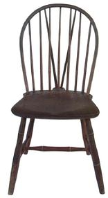 Y64 Early 19th century Pennsylvania, Philadelphia brace back Windsor Chair in original decorated paint, salmon with black decoration, with a white pin stripe, Bamboo turnings with saddle  shaped seats
