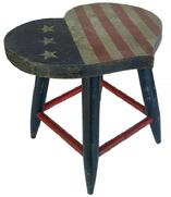 Y71 Early twenty century  Folk Art Heart shape Stool with stars and stripes painted on top. circa 1920's  Red/white/blue paint