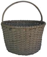 "RM31 19th century Lancaster Pennsylvania, original gray painted gathering Basket, with  a notched handle, ingle wrapped rim, 13"" tall x 11"" diameter"
