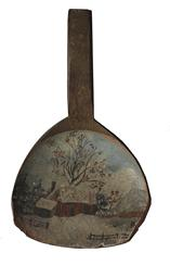 C376 19th century antique treen butter paddle with a desirable folk art hand painted  cabin in the winter snow.