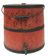 "N647 Bittersweet Orange painted softwood Kerosene Bucket tongue and groove staves with mental bands, wire handle with turned wood grip, original spout , measurements are 13"" tall x 12"" diameter"