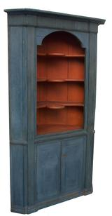 X99 18th century, American  blue painted  pine Corner Cupboard  with salmon painted interior, with  arched opening, reeded