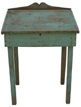 "V248 Eastern Shore Maryland civil war era  Desk with original blue paint,  nailed construction 23 1/2"" deep x 29 1/4"" wide x 41"" tall back front"