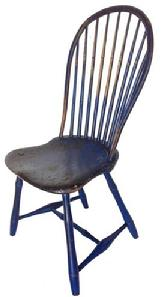A426 Late 18th century (1790-1810) Pennsylvania nine spindle bow Back, saddle Seat Windsor Chair, with Bamboo Turned Legs Retaining an Old indigo Blue paint over red
