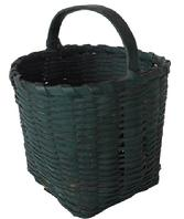 A110 19th century small Green-Painted Splint Basket, American, woven square basket with arched handle in excellent original, green-painted surfaced