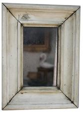 B110 19th century small Mirror/ looking glass, with old white paint, original   mirror circa 1850