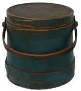 V278 Original blue painted, Wooden Firkin, tongue and groove softwood staved sides, tapered lap joint wood bands, bent wood handle attachments,