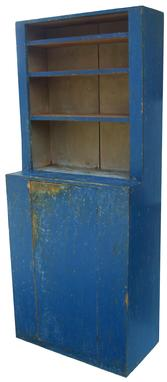 "Y120 19th century  New England high waisted Stepback Cupboard with original  vibrant blue and white interior paint, circa, one board construction with a two board back, all original  1840, 32"" wide x 78"" tall x 17 1/2"" deep"