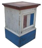 M504 Late 19th century Pedestals, with the original red. white and blue paint, found in New Hampshire, with a door in the back, all original