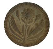 "X269 Large Chip-carved  butter print of Pennsylvania origin from the 19th century. Of flower and foliage design, this is very fine chip carved  print , with deep and flamboyant leaves. A great example of  folk art. $ 3/4"" diameter"