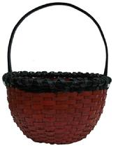 X547 Late 19th century Pennsylvania  Painted splint oak basket. with a double wrapped rim, nice high handle notched, kick in bottom, with the original red and black paint, from a private collection in Pa.