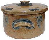 C545 Cobalt-Decorated Stoneware Cake Crock with Lid, Baltimore, MD origin, circa 1875,applied handles, decorated front and back with a brushed cobalt floral design. Includes lid,