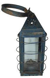 RM737 Mid 19th Century blue painted Tin Lantern made by E F Parker Square form with large strap hanger, piercings on each side include a sunburst over a five-point star to the top and a row of stars
