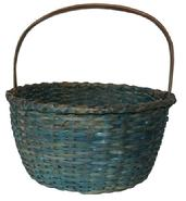 C125 19th century gathering Basket with the original beautiful blue paint with a double wrapped rim , nice high steamed and bent handle, and a kicked in bottom, Good condition