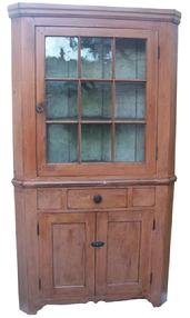 W328 Hagerstown, Maryland  19th century  Two pc Corner Cupboard with nine window lites, , original rare salmon paint on the exterior