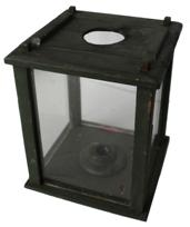 B37 19th century ,Lantern  pinned construction. Four windows are contained within a wooden box frame that is  pine; wonderful original green paint .To access the candle you have to slide the lid open,with hold for  ventilator;   measurements are 8� wide x *� deep x 10� tall