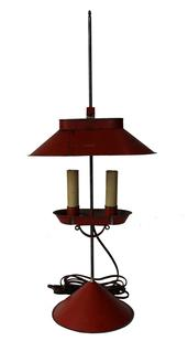 D123 Jeremy Martin tin student lamp  adjustable lamp with bittersweet red  paint, with two electrified candles and signed �JM� on base,  10�x 6 ¾�x 23 ¾�