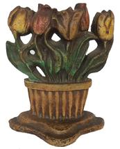 "A342 Antique Albany Foundry Cast Iron Tulip Basket Doorstop with Original Paint. Measures 8 1/2"" tall and 7 1/8"" wide."