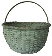 B334 Virginia gathering Basket with the dry blue paint, nice high steamed and bent handle  the rim is double wrapped , with a kicked in bottom, very well made, it has a one small breaks, over all very good condition, tight, heavy