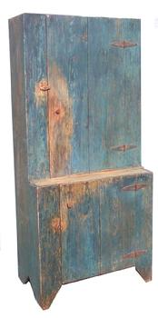 "O101 Stepback Cupboard from Union Co. North Carolina, the wood is yellow pine, with the original blue, circa 1870,Measurements are 13 1/4"" deep top x 19"" deep bottom x 33 1/2"" wide x 72 1/2"" tall"