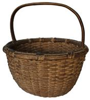 "C159 MARYLAND  OAK SPLINT BASKET, well woven round form with  tightly wrapped rim and steamed and bent and notched handle , outstanding original dry natural patina  surface. Found near Delmarva Late 19th/early 20th century. 11"" diameter x 13"" tall including handle"