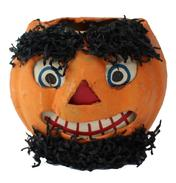 C504 Ealy 20th century  Papier Halloween Jack-O-Lantern pumpkins, original paper inserts. The inserts, with their printed facial features add dimension and expression to the pumpkin heads.Still spooky in a vivid orange color