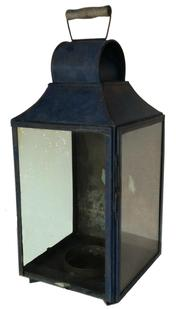 RM462  19th Century Carriage / Barn Lantern ,  bail handle, three colorless glass panes including one with a hinged frame Measurements are 21� tall x 9� wide x 9� deep