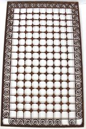 "W521 Late 19th century   Handcrafted wrought iron square door mat.  This door mat  feature scrolling designs and squares, 34 1/2"" wide x 21"" tall"