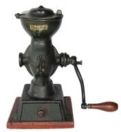 "B362 19th century Cast Iron Coffee Grinder, ""L.F.&C. #11, New Britain, Conn."" Original paint & decal. Excellent condition, It has it's original green paint on grinder attached to a red base all original measurements are:11 1/2"" tall x 7"" wide"